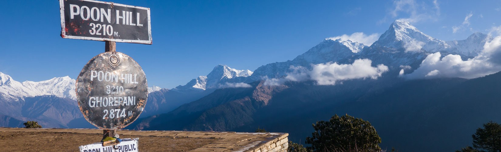 View of Ghorepani from Poon hill,This trek is also known as Annapurna Sunrise Trek.